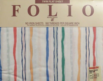 Vintage Folio Wavy stripe twin flat sheet -new in package
