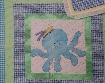 Vintage Cute Sea Creatures small quilted blanket