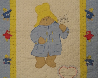 Vintage Paddington Bear quilted blanket