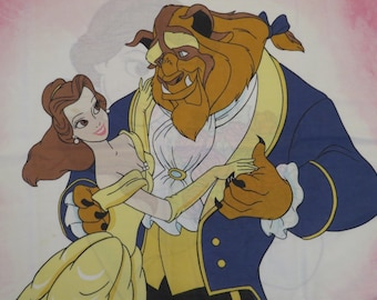 Vintage Beauty and the Beast standard pillowcase