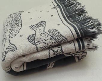Vintage Freshwater Fish woven tapestry blanket