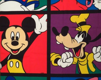 Vintage Mickey Mouse curtain set -includes 2 curtain panels, 2 valances, and 2 tiebacks