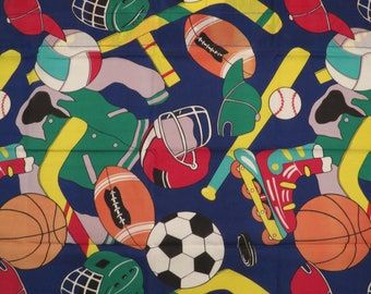 Vintage Fun Sports Curtain set -includes 2 panels and a valance
