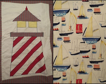 Lighthouse and Sailboats Twin duvet and sham