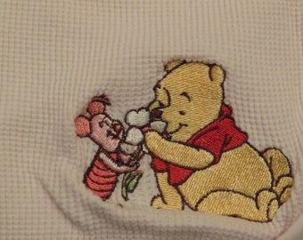 Winnie the Pooh pink receiving blanket