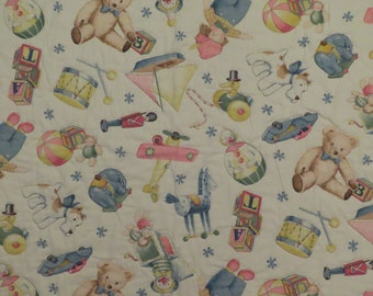 Vintage Teddy Bears and Toys small quilted blanket