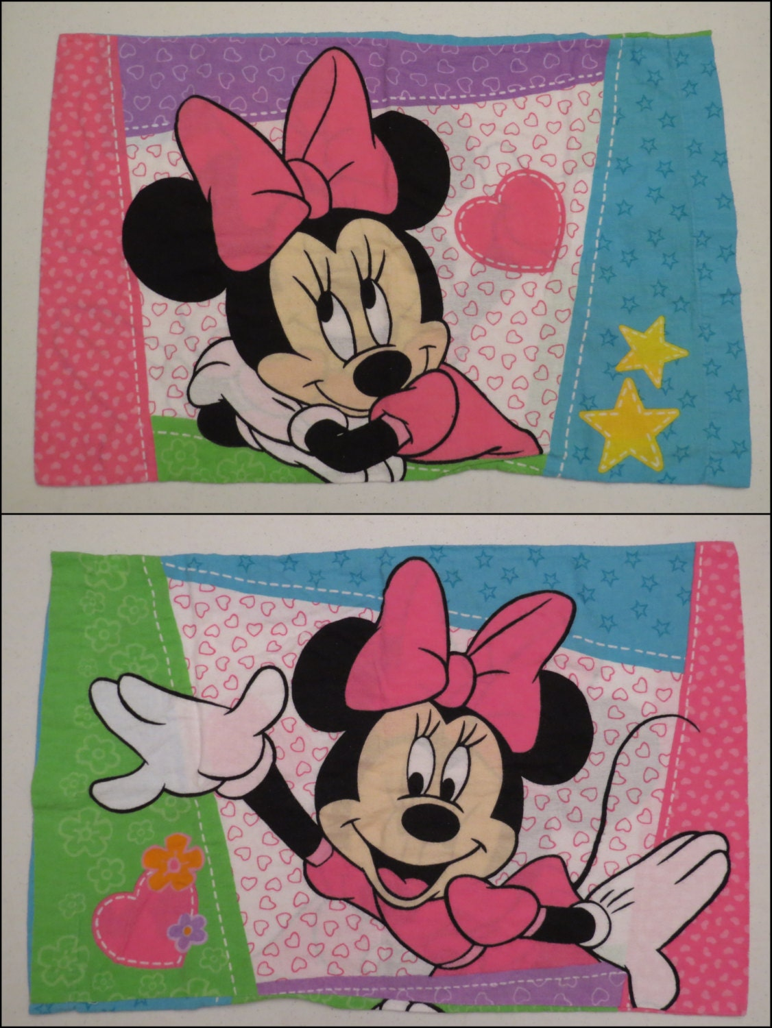 Vintage Minnie Mouse Flannel Twin Sheet Set Includes Flat Fitted And Pillowcase