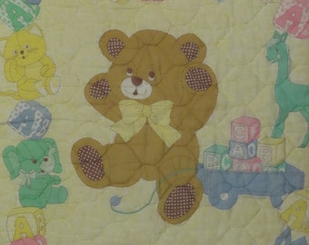 Vintage Teddy Bear small quilted blanket