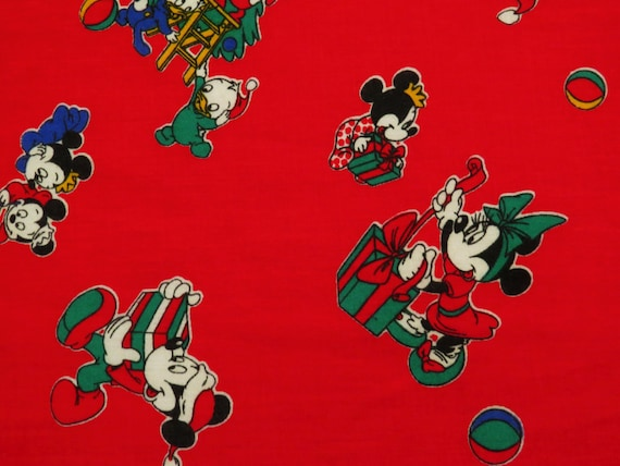 vintage mickey mouse christmas fabric 2 3 yards etsy