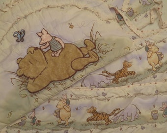 Classic Winnie the Pooh Crib bumper and headboard pads