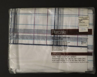 """Vintage JCPenney """"Classic Plaid"""" twin flat sheet -New in package"""