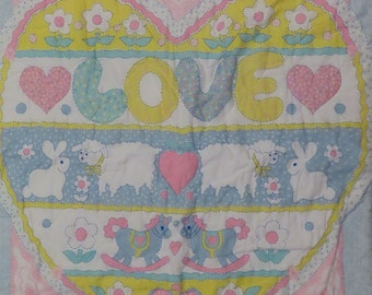 """Vintage """"Love"""" small quilted blanket"""