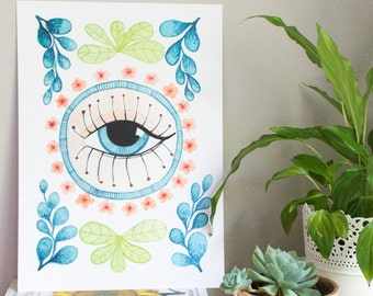 Watercolor Evil Eye, Evil Eye Poster, Eye and Flowers Print, Blue Evil Eye Poster, Watercolour Eye Wall Art, Gift for Him, Housewarming Gift