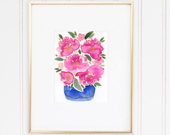 Pink Peonies Original Watercolour Painting, Peonies Bouquet Watercolor Wall Art