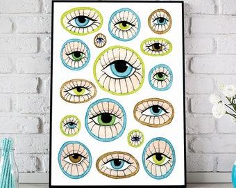 Eyes Print, Eye Poster, Eye Illustration, Eyes Art, Watercolor Eye Print, Watercolor Eyes Poster, Watercolour Eye Art, Evil Eye Art, Eye Art