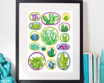 Watercolour Cactus Print, Cactus Poster, Green Watercolour Cactus Art, Cacti Illustration, Cactus Decor,  Succulents and Cacti Art
