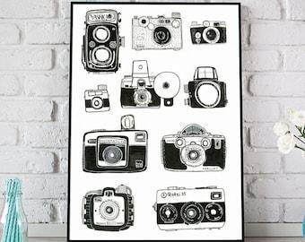 Vintage Camera Print, Black Vintage Cameras Poster, Office Decor, Vintage Camera Decor, Gift for Him, Home Office Art, Father's Day Gift