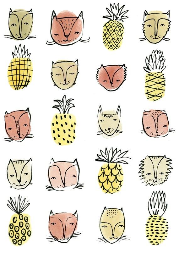 Cat Print, Pineapple Print, Watercolour Cat, Cat Poster, Watercolor Cat  Art, Pineapple Watercolour Print, Cat Art, Cat Illustration, Cats
