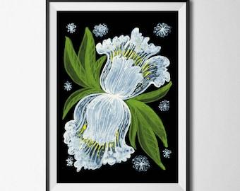 White Flower Print, Flower Poster, Watercolour Poster, Iris Print, Floral Bouquet Art, Flower Illustration, Botanical Print, Botanical Art