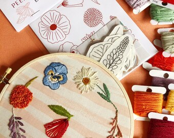 DIY Embroidery Pattern. Peel Stick and Stitch Wildflower Designs. Botanical Hand Embroidery Kit. Embroidery Material. Flower & Leaf Pattern