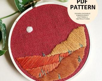 PDF Pattern: DIY Beginner Desert Landscape Embroidery Pattern. Hand Embroidered Cactus. Desert Embroidery Pattern. Instant Download.