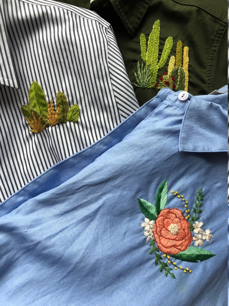 Grey and White Button Down Blouse Hand Embroidered with Cacti and Succulents Cactus Bunch Shirt