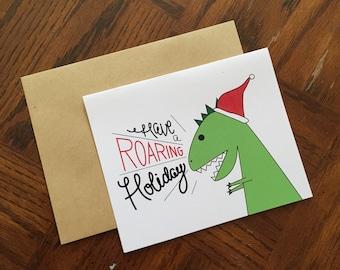 SALE: Have a Roaring Holiday 5x4 Holiday-Christmas-Santa-Dinosaur Card
