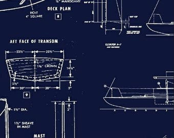 Sailboat blueprint etsy sail away boat blueprint sailboat in navy whistler studios for windham fabrics designed by rosemarie lavin by the yard malvernweather Gallery