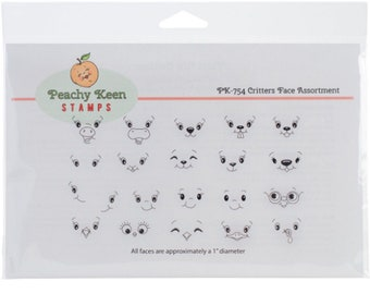 Peachy Keen PK-754 Stamps Clear Face Assortment 18 Pkg-Critters Free Shipping NEW