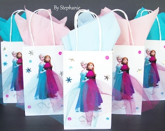 INSPIRED  Disney 20pc Frozen 10pc Elsa & Anna  10pc Olaf Birthday Party Favor Goodie Gift 3D Bags hand made with real picture