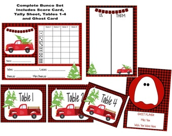 Western Bunco Printable Set Scorecard Table Numbers Red Bandana Instructions and More