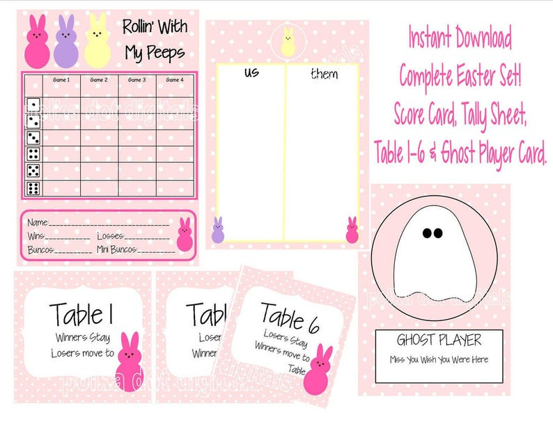 image regarding Bunco Tally Sheets Printable titled Acquire 2 Receive 1 Free of charge In depth Established Easter PEEPS Bunco Rating Card Sheet Desk Figures * Tally Sheet Bunnies Bunny Printable Electronic Record Obtain