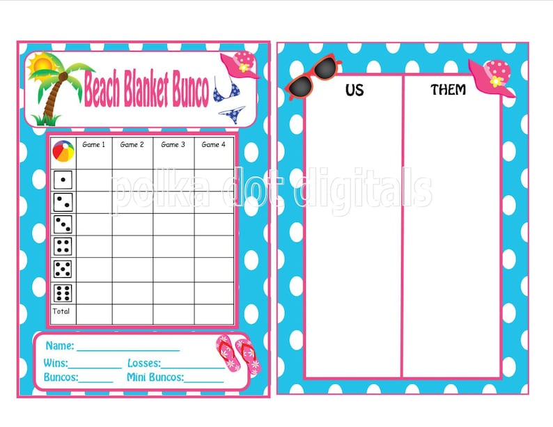 photograph regarding Printable Bunco Table Tally Sheets named Acquire 2 Get hold of 1 Cost-free Seashore BLANKET Bunco Rating Card Sheet with Matching Desk Figures and Desk Tally Sheets Digtal History Down load PDF