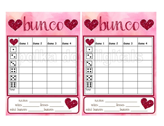 Universal image for bunco tally sheets printable