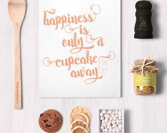 cupcake quote, happiness quotes, kitchen cupcake print, peach kitchen art, kitchen decor download, kitchen typography artwork, type poster,