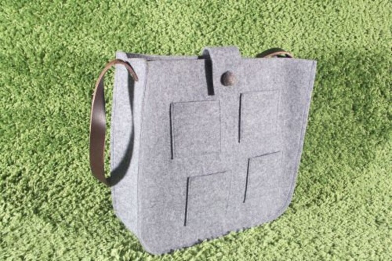 tote felt leather handles large felt bag tote bag Grey felt tote bag for shopping Tote crossbody Felt tote big size Messenger Bag