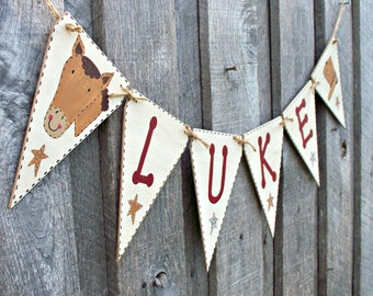 Horse Pennant Banner, Name Bunting, Rustic Wood Flag Banner, Boys Western Bedroom Decor, Cowboy Baby Shower