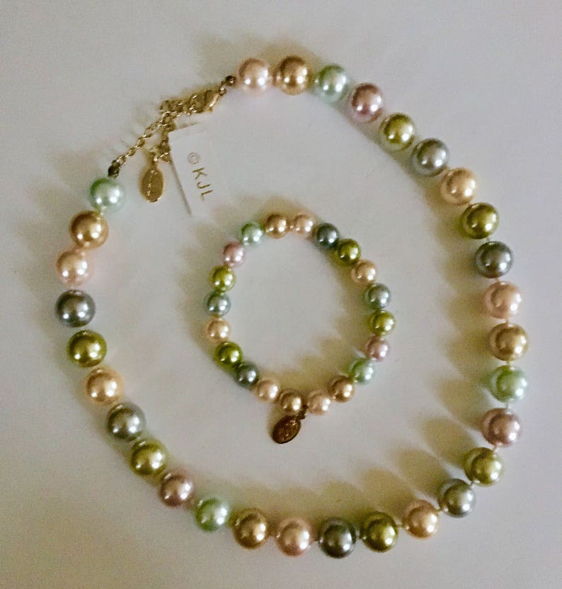 KJL southsea pearl becklace /& bracelet multicolored all natural shades lovely set