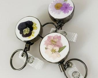 Floral Badge Retractor, Badge Reel, Flower Badge Holder, Real Flowers, Pressed Flower ID holder, ID card retractable holder
