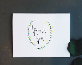 thank you card set, thank you card pack, pretty thank you card, stationery set, wreath, thank you card, thank you, thank you cards set