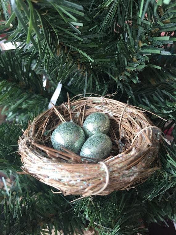 Icelandic Folklore birds nest ornament w//Gold eggs Christmas Ornament for tree