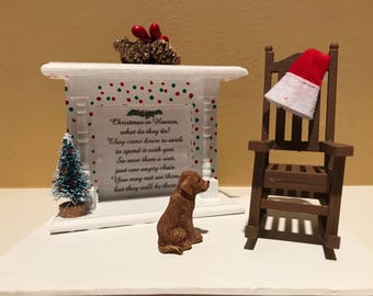Christmas in Heaven, empty chair, loved one in heaven, fireplace with Christmas tree, deceased loved ones pet dog cat