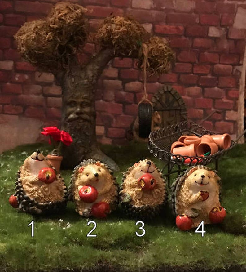 Entzückende Igel Verspeisten äpfel Fee Garten Igel Miniatur Etsy