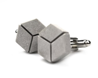 cuffinks made of concrete [cubelinks - BETONIDEE] with engraving | In a jewelery box | Perfect as a gift for men