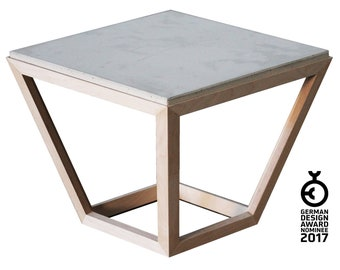 Coffee table [cretable] made of wood and concrete   Side table with pore-free concrete slab 52 x 52 cm and wooden frame in minimalist form