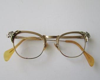 0723dffcdd5 Vintage Gold Filled Rhinestone Flowers Eyeglasses Fancy Frames Glasses GF  Just Pre Cat Eye - Slight Upswing