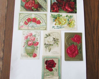 Free Domestic Shipping Heavily Embossed New Years Eve  Postcards 1910s  Puffy Postcards CHOOSE ONE Hand Colored