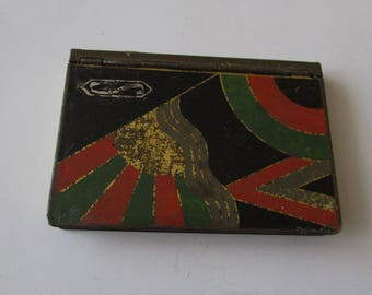 Vintage Shabby Art Deco Compact Rouge & Powder