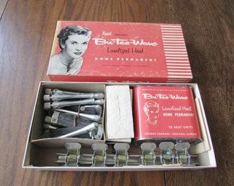 Vintage Bu-Tee-Wave Home Permanent Halgar's Boxed Hair Curlers Rods Clips 50's Retro