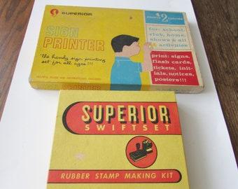2 Vintage Print Sets Superior Rubber Stamp Kit & Sign Printer Set Letters Numbers